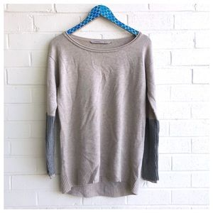 Athleta Nopa Merino Beige Grey Wool Sweater